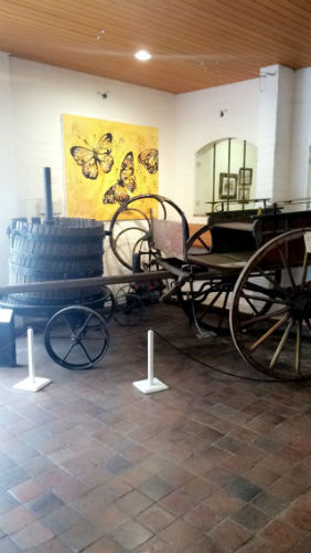 The entrance to the wine estate with traditional South African art and objects.
