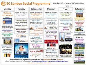 10EC English Language Center in London Social Programme 10 - 16 November - 16 November