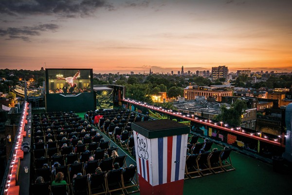 Enjoy a warm evening at the UK's Nr 1 open air rooftop cinema