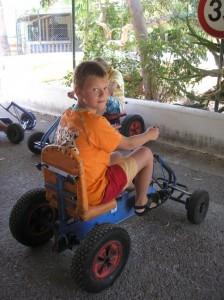 Artem preparing for a go kart race