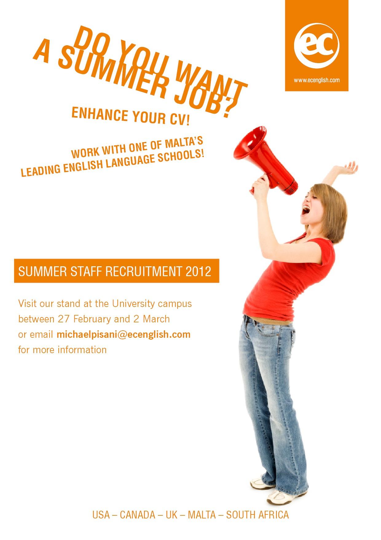 summer recruitment ec malta