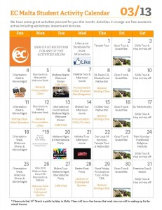 EC Malta Activity Calendar - March 2013