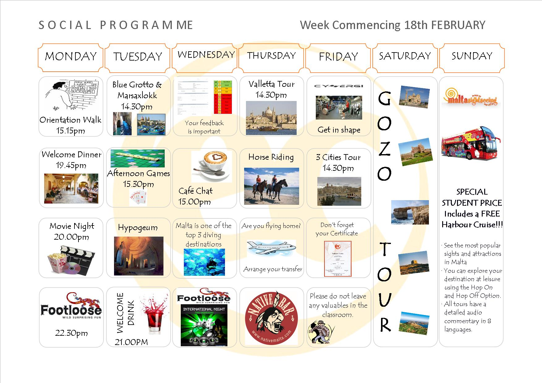 Social Programme Week 18th Feb. 13