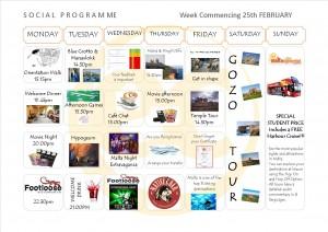 Social Programme Week 25th Feb  13