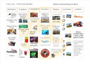Social Programme Week 1st April 13