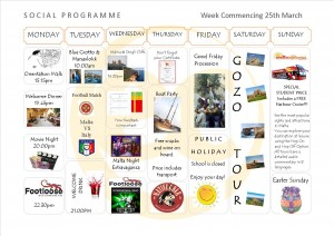 Social Programme Week 25th Mar. 13