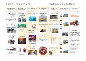 Social Programme Week 4th Mar  13