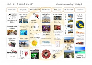 Social Programme Week 29th Apr  13