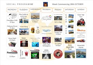 Social Programme Week 28th Oct  13