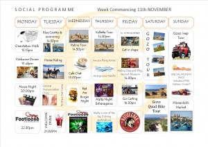 Social Programme Week 11th Nov  13