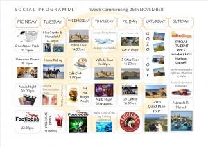 Social Programme Week 25th Nov  13