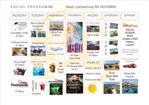 Social Programme Week 9th Dec 13