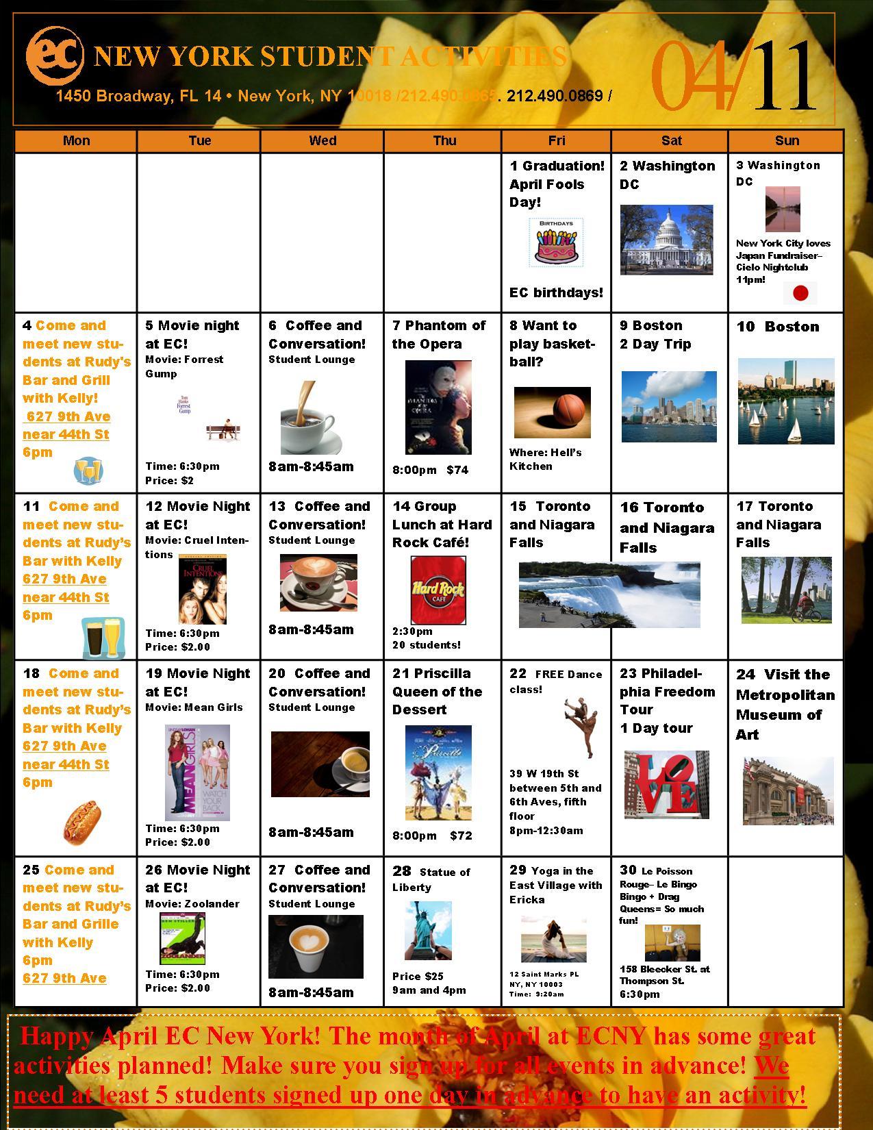 Calendar New York April : April s student activities calendar ec new york
