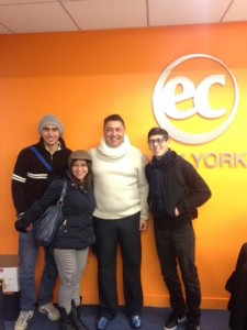 Michael, his brother, and his visiting parents at EC New York