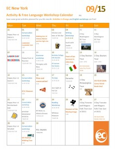 EC New York English School September's Activity Calendar