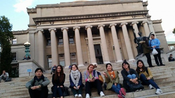 Student Ambassador Minah with EC NY students at Columbia University