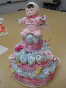 The finished diaper cake.
