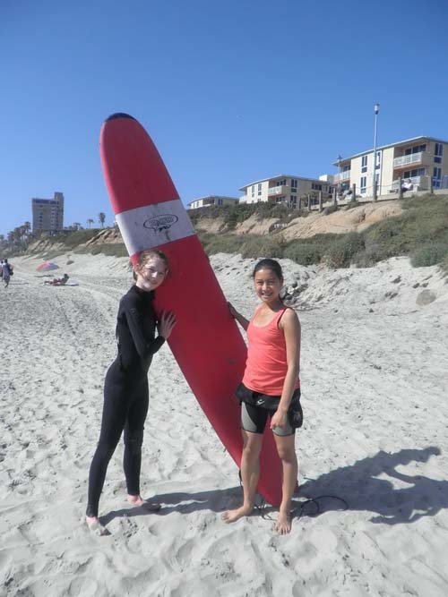 The students tried surfing at Pacific Beach