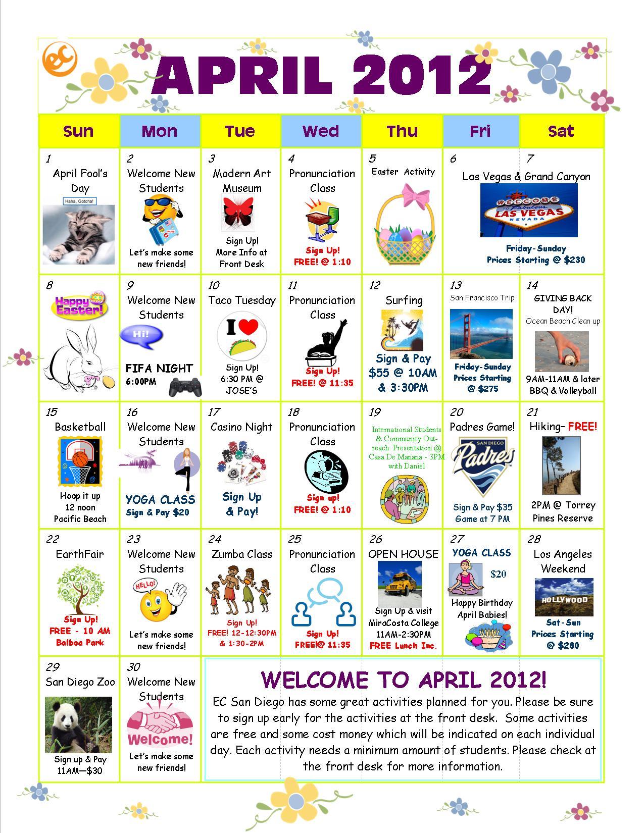 April Activity Calendar is here! - EC San Diego Blog