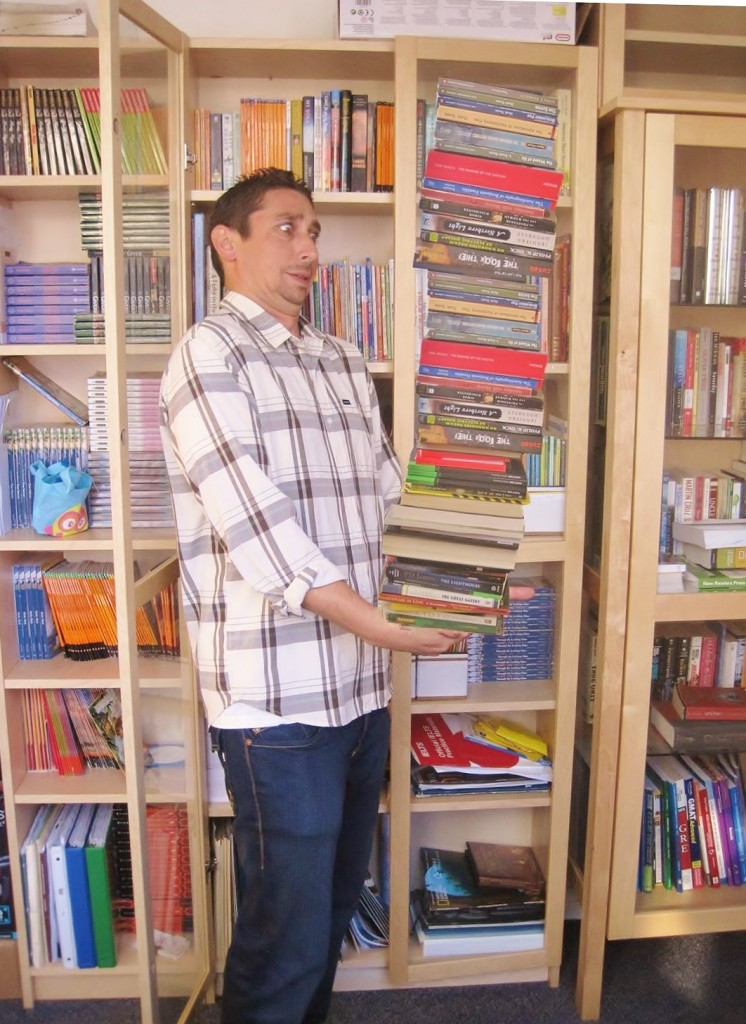 Oh no! AY Coordinator Daniel might have overdone it. There are just too many great options in ECSD's Library!!