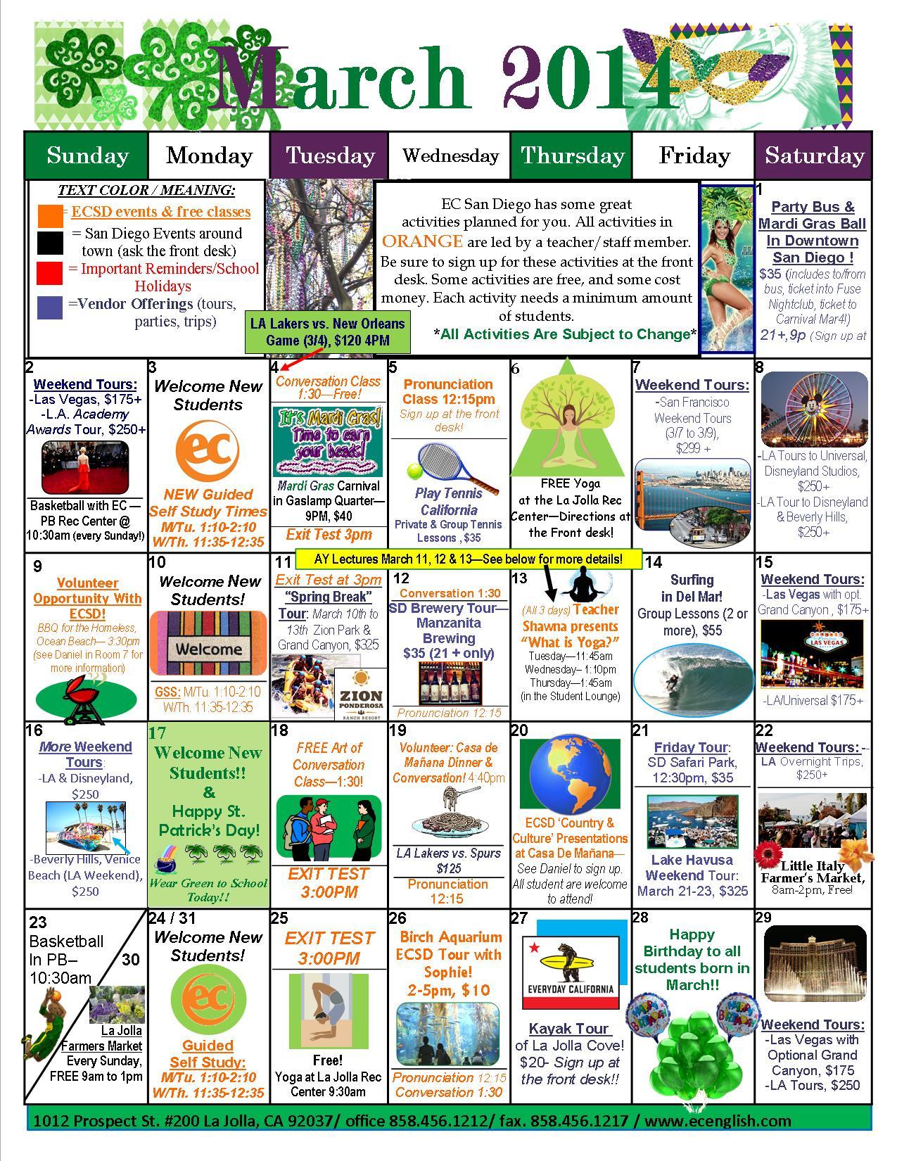 3 March 2014 Calendar