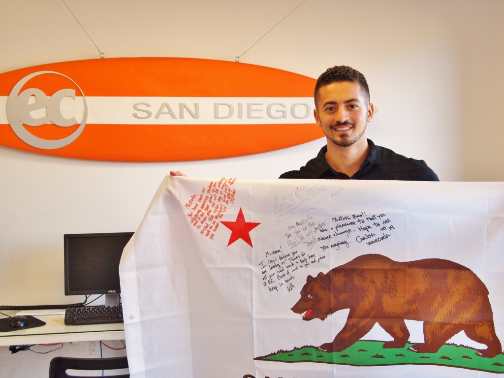EC San Diego student Mustafa with his California State Flag