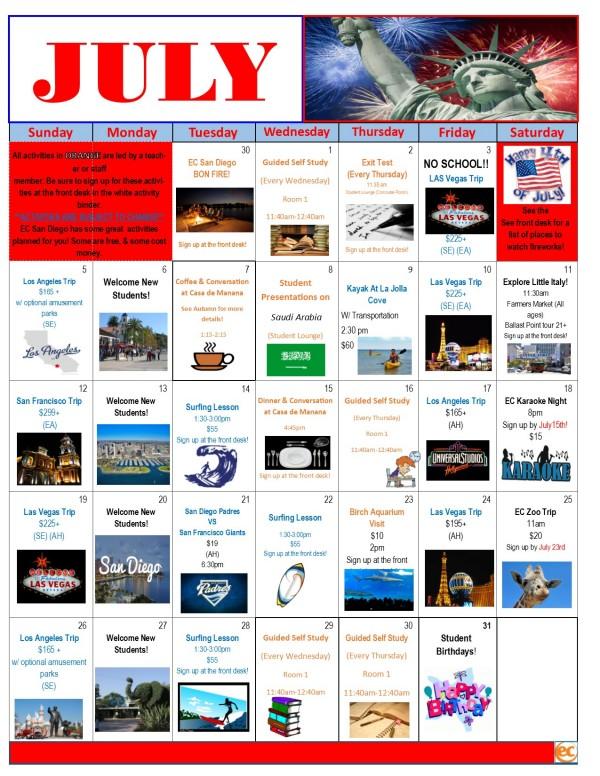 EC San Diego July Calendar