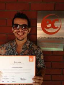 Asim Altuwayjiri shows off his certificate from studying English in San Diego