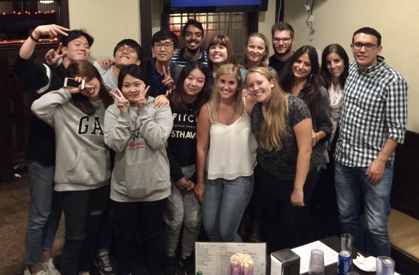 EC San Diego English Class Students enjoy a night of Karaoke in the city.