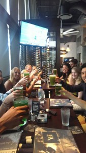 Immediately after this picture was taken, the students broke out in laughter over the green beer.