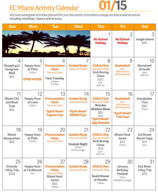 Ec English School In Miami Calendar Review