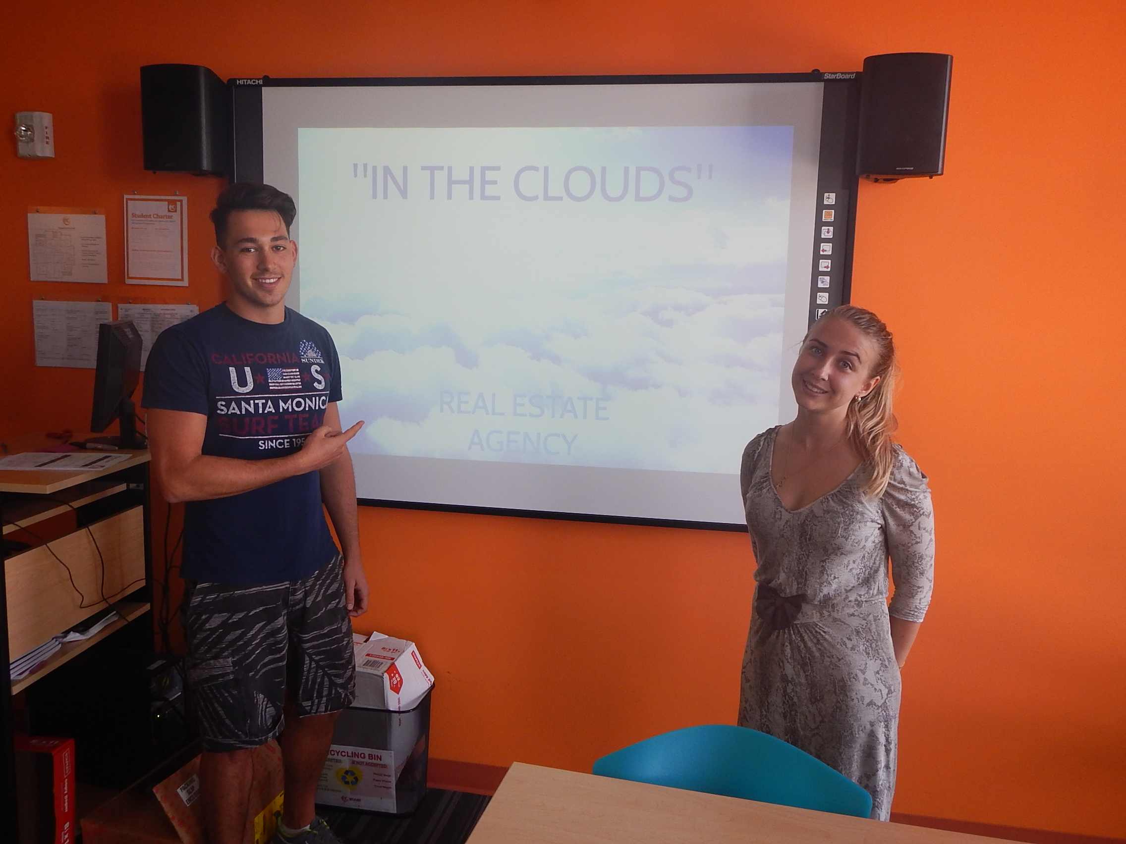 Maria and Pietro presenting during their ESL Miami class