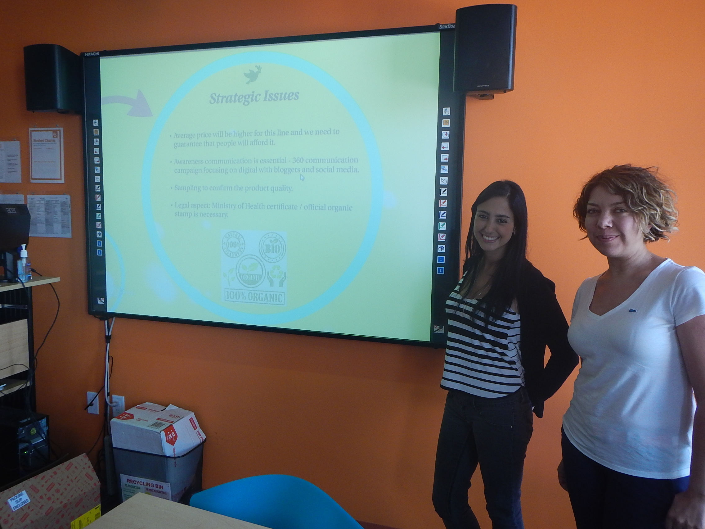 Burcu and Ana presenting during their ESL Miami course