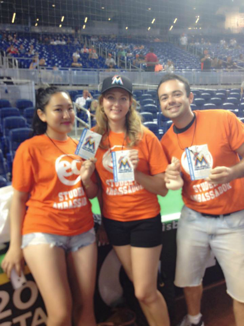 Three lucky students and our DSO got to be on the Miami Marlins Field