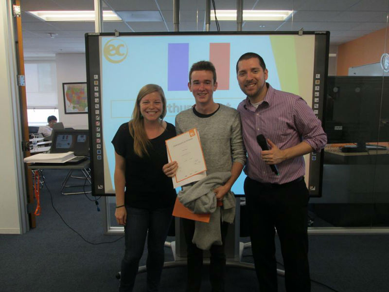 Arthur receives his certificate after study English in the USA