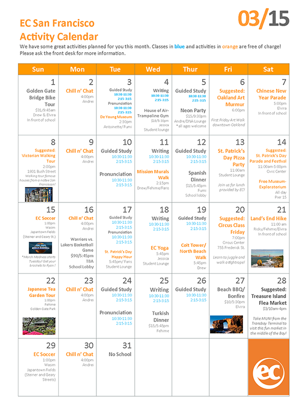 March 2015 calendar and free English courses in San Francisco