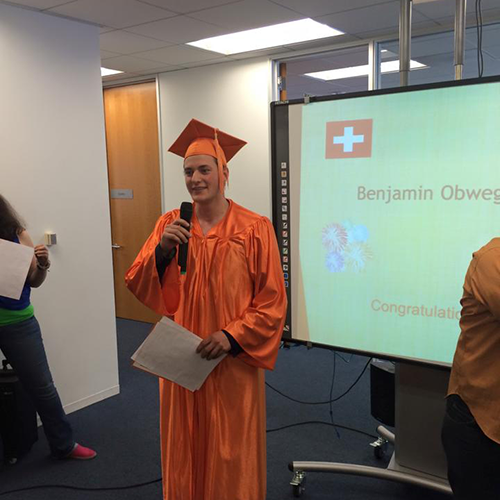 Benjamin took English classes in San Francisco and graduates today