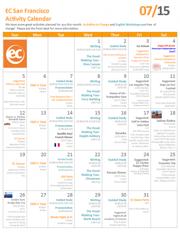 July 2015 Activities Calendar at EC San Francisco English