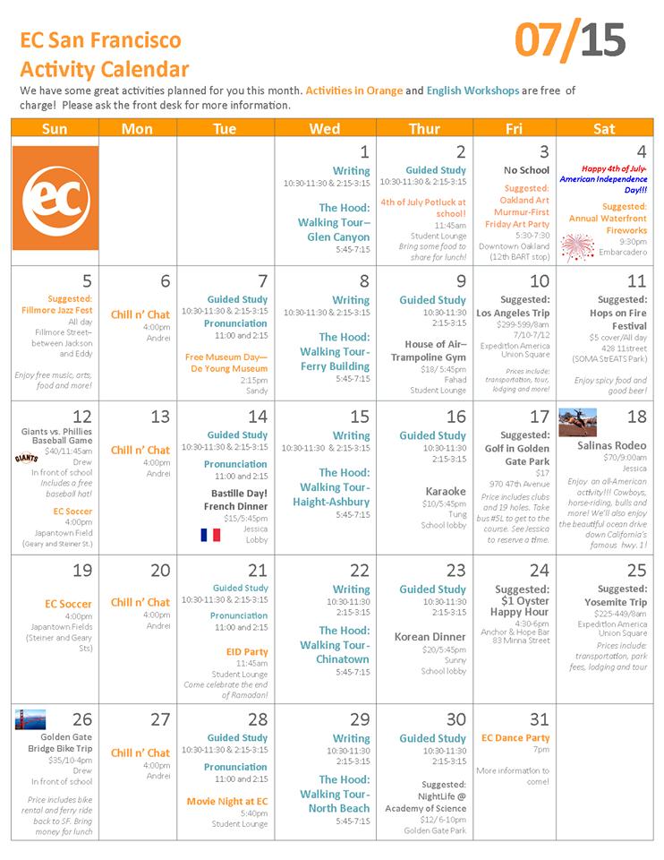Calendar Activities Esl : July student s event calendar learn english in usa