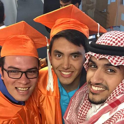 Andres has graduated after studying English at San Francisco
