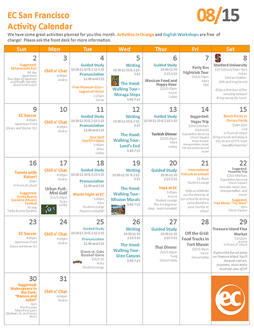 August 2015 EC San Francisco English School Activities Calendar