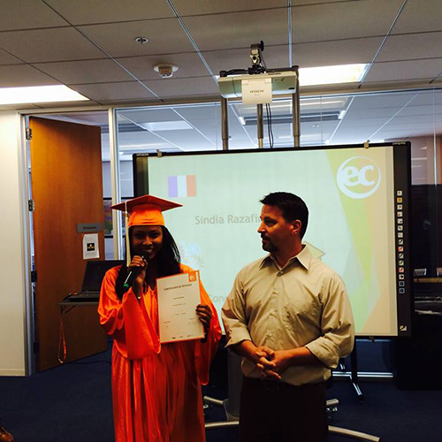 Sindia was studying ESL at EC San Francisco for many weeks