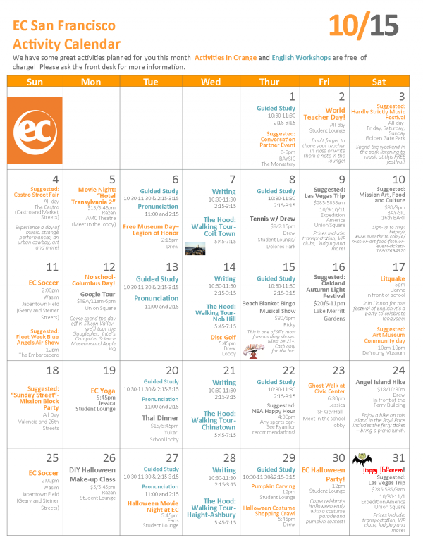 October Activity Calendar EC San Francisco