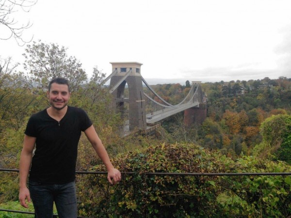 Antoine in front of the Clifton Suspension Bridge