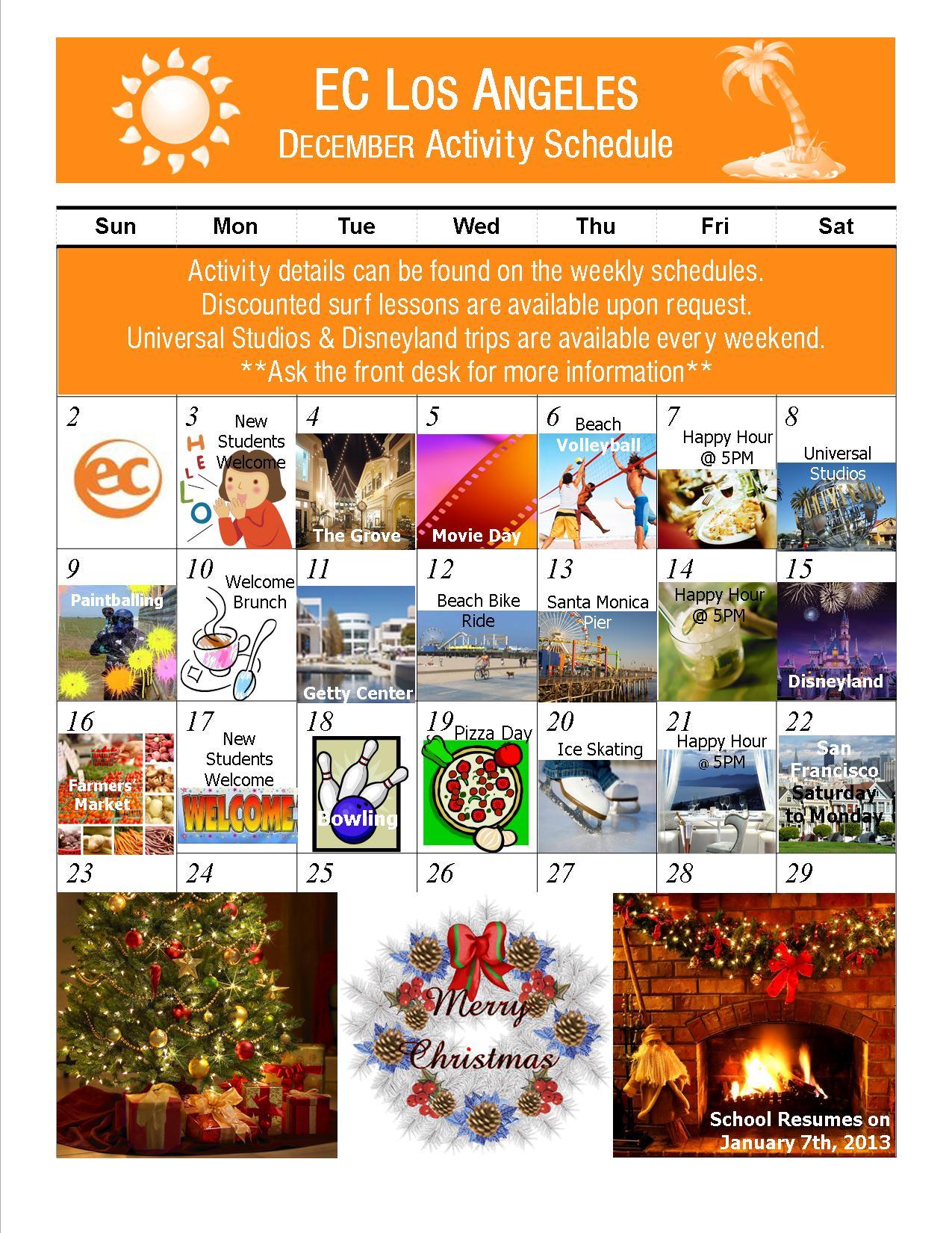 Weekly Calendar Los Angeles : December activities ec los angeles