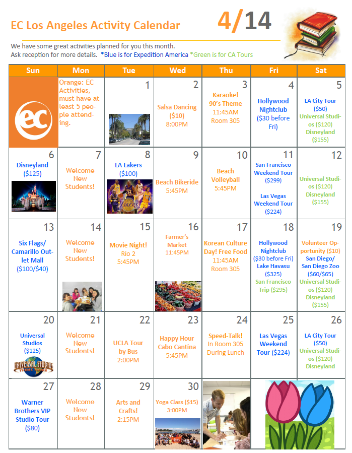 April Activities at EC Los Angeles! - EC Los Angeles Blog