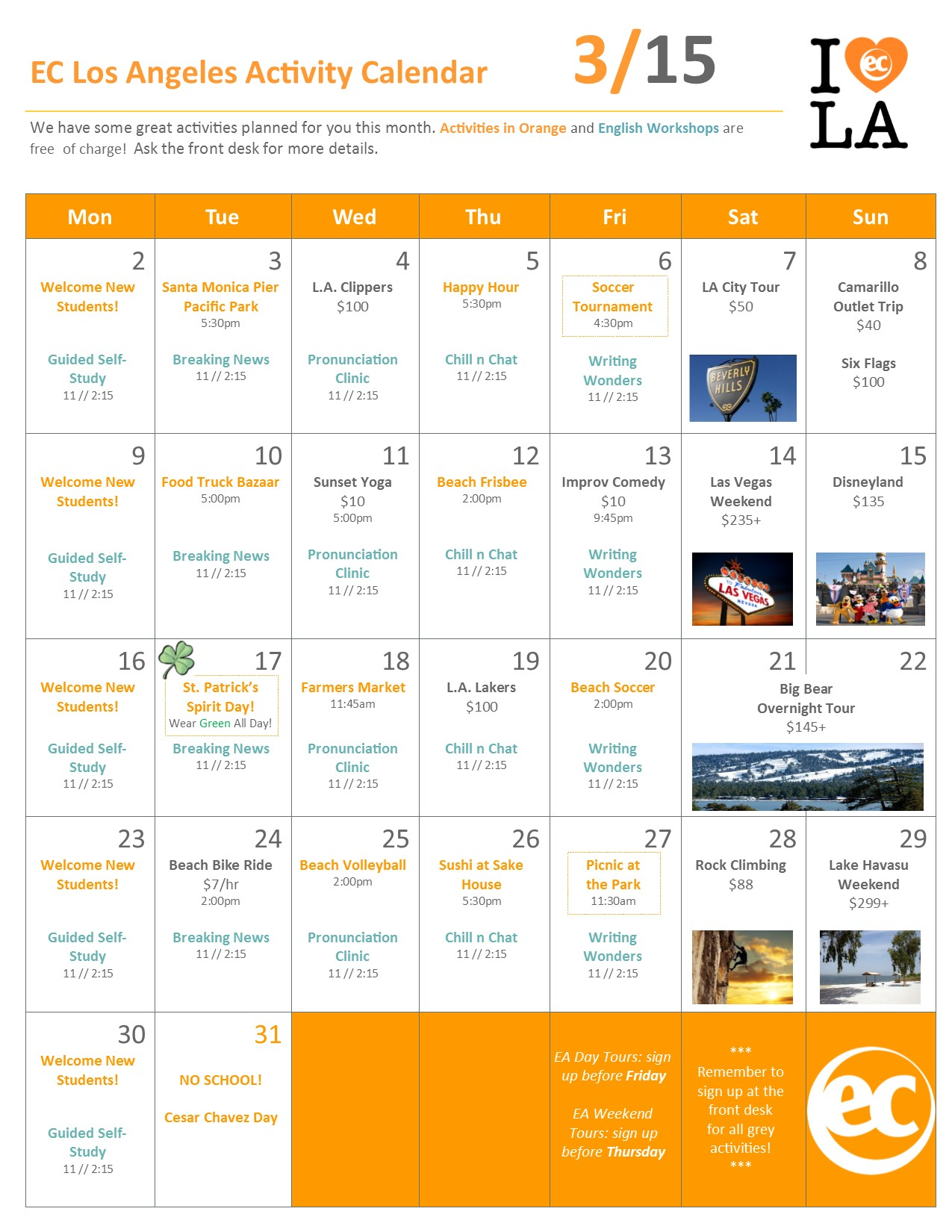 Calendar Activities Esl : March activities for esl los angeles students