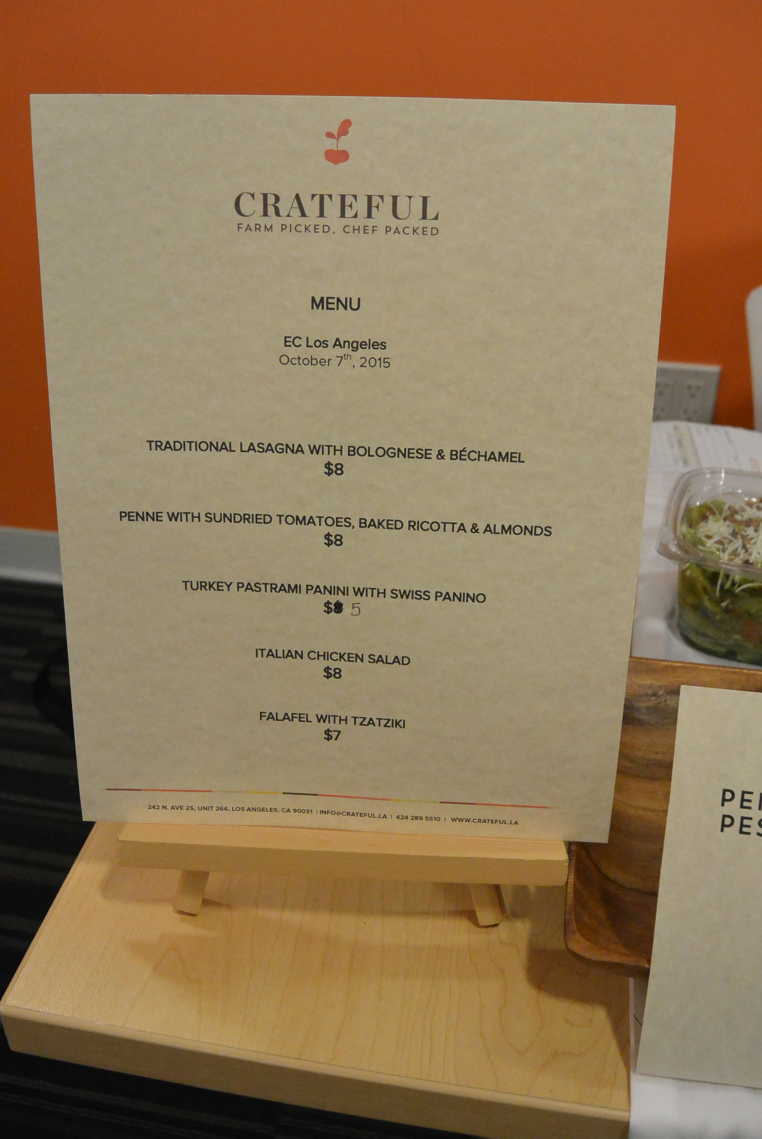 Crateful's October 7 menu offered at ECLA.