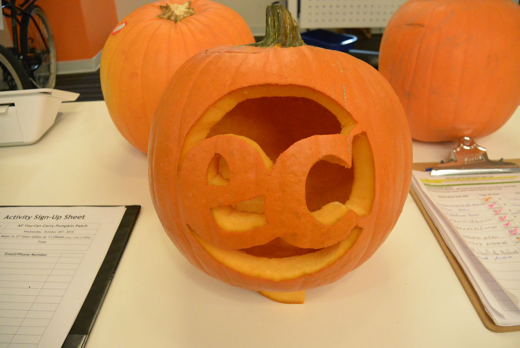 ECLA's staff carved a pumpkin!