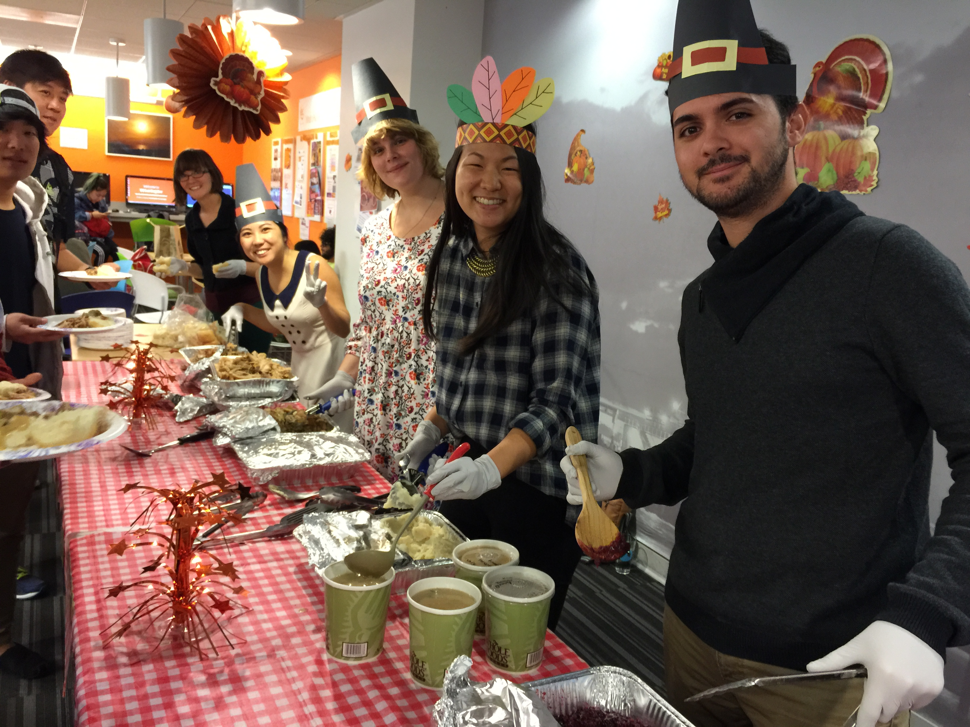 ECLA staff serving a Thanksgiving meal!